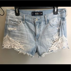 Lace Detail High-Rise Shorts